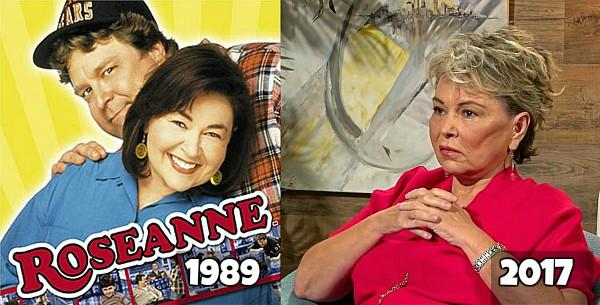 Roseanne Barr in 1989 and 2017