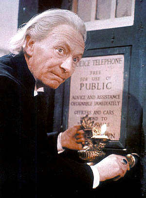 The First Doctor William Hartnell with the TARDIS
