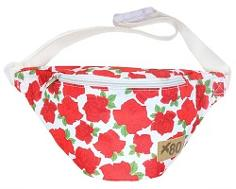 X80 Red Floral Print Fanny Pack