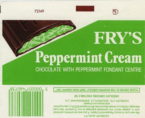 Fry's Peppermint Cream 1980s wrapper