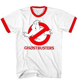 Ghostbusters red and whire retro ringer T-shirt
