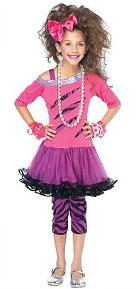 80s Fancy Dress Costume for Girls - Kids Pink Rock Star Costume