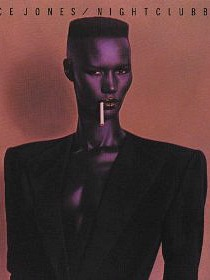 Grace Jones wearing shoulder pads