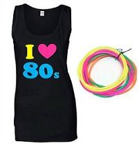 I Love the 80s Vest Top with free gummy bracelets