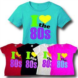 Ladies and girls neon 80s T-shirts