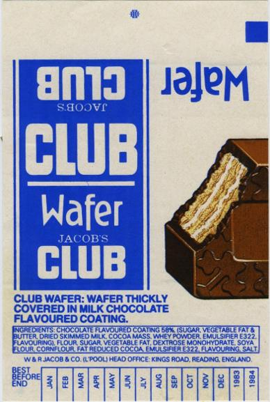 Jacob's Wafer Club chocolate bar wrapper 1980s