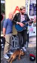 Jimmy Somerville surprises a Berlin street musician