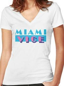 Miami Vice 80s TV Series Logo V Neck T-shirt