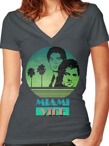 Miami Vice Crockett & Tubbs Womens V Neck T-shirt