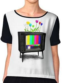 Test Pattern TV and Flowers Baseball T-shirt for Men or Women