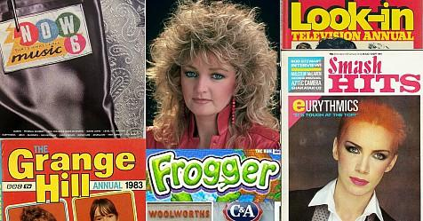 1980s collage - Now 6, Grange Hill, Frogger, Bonnie Tyler, Look-In, Smash Hits