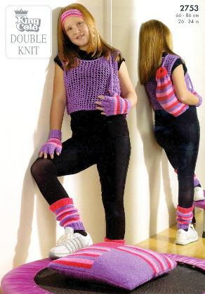 80s Knitting Pattern for girls string vest, mittens, leg warmers, kit bag and matching cushion!