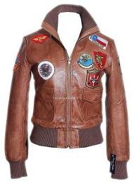 Ladies Italian Tan Leather Top Gun Bomber Jacket