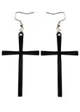 Gun Metal Madonna Cross Earrings