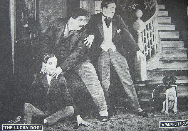 Lobby Card c. 1921 featuring the first appearance on film by Laurel and Hardy, in Lucky Dog produced in 1919 and released in 1921.