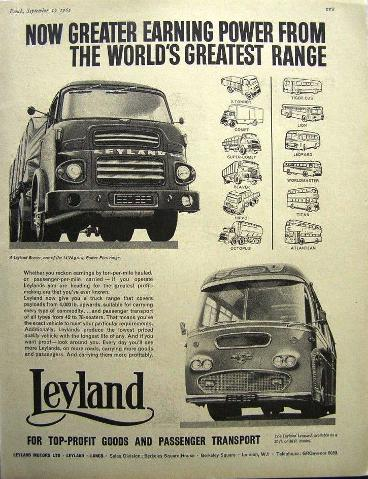 Leyland truck and bus advertisement from 1962