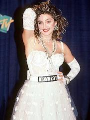 Madonna black dress 80s earrings