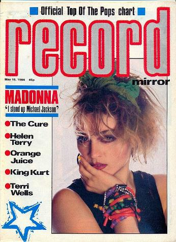 Madonna on the cover of Record Mirror May 1984
