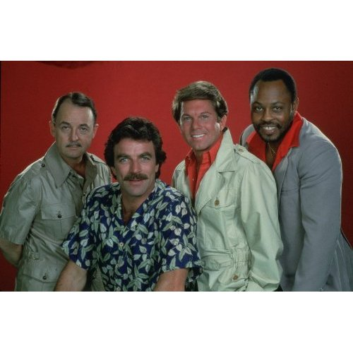 Cast of Magnum P.I. - John Hillerman, Tom Selleck, Larry Manetti and Roger Earl Mosley