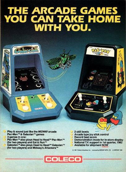 Coleco Galaxian an Pac-Man portable games from 1982