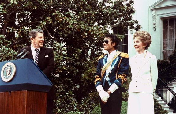 Michael Jackson with Ronald and Nancy Reagan at The White House in 1984