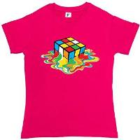 Melting Rubik's Cube T-shirt Hot Pink Ladies