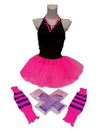 Neon 80s Skirt Set with leg warmers, gloves and necklace