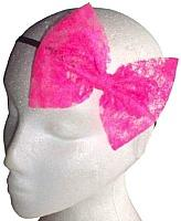 Neon Pink Lace Hair Bow on a band