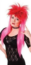 Neon Pink Ladies Punk Wig