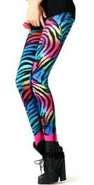 Neon Multi-coloured Zebra Print Leggings by Locomo