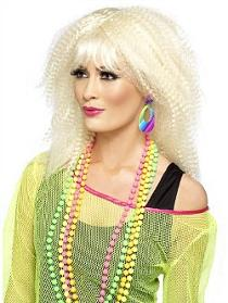 80s Woman wearing Neon Beads and Teardrop Earrings