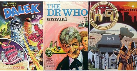Old Doctor Who Annuals collage
