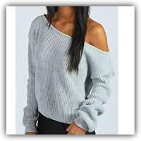 Off-one-shoulder, grey slouchy pullover sweatshirt top