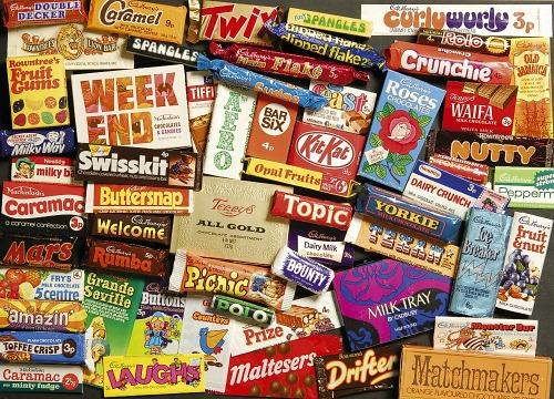 Old chocolate bars from the 70s