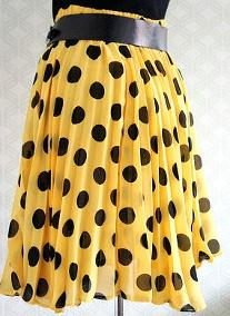 80s accordian pleat skirt - yellow with black polka dots