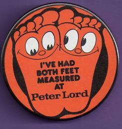 Peter Lord shoe shops - button badge