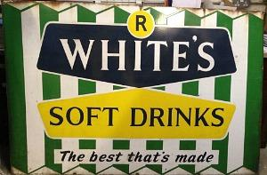 An old R White's Soft Drinks sign