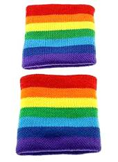 Rainbow Striped Sweatbands/Wristbands by Zac's Alter Ego