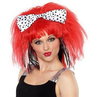 80s red rock chick wig with polka dot hair bow