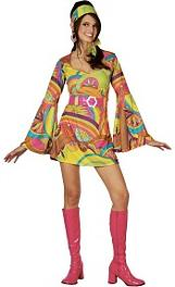Retro 70s Go Go Girl Psychedelic Dress Costume