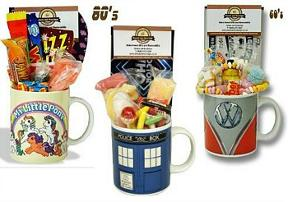 Retro mugs filled with sweets