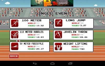 Retro Sports App events screen