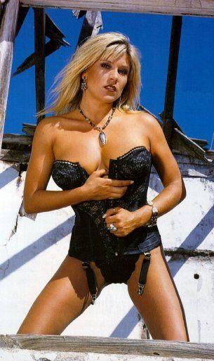 Samantha Fox in black lingerie