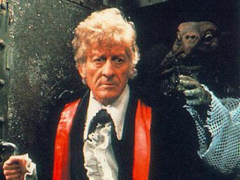 A sea devil behind Jon Pertwee as the third doctor
