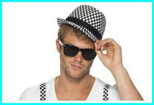 80s Ska - 2 Tone Chequered Hat and Wayfarer Shades