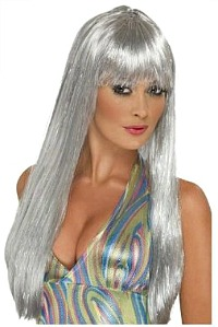Silver 70s Disco Wig for Ladies