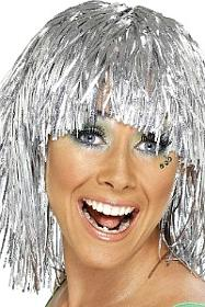 Silver Tinsel Party Wig
