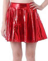 Wet Look Shiny Skater Skirt (choice of colours)