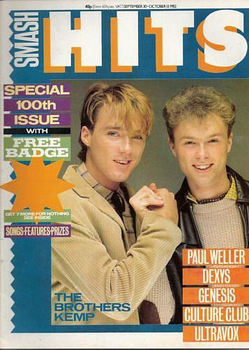Martin and Gary Kemp on the cover of Smash Hits magazine - September 1982