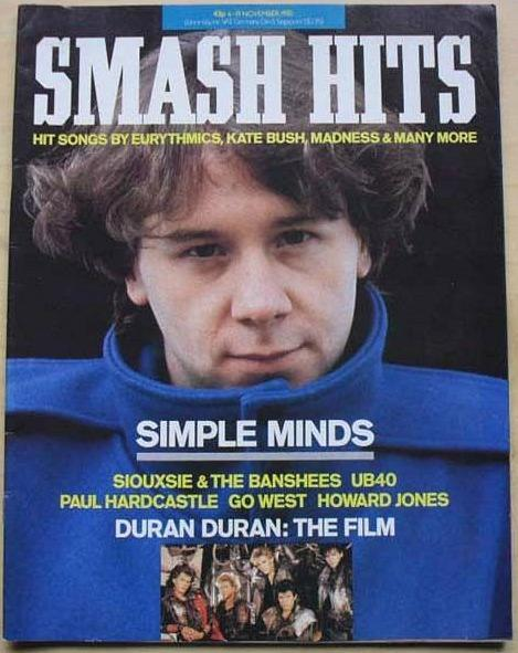 Jim Kerr on the cover of Smah Hits in November 1985